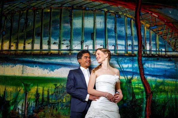 trouwfoto's graffiti bruidsfotografie Zwolle